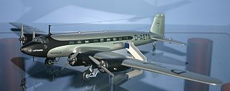 Model aircraft - A Lufthansa Focke-Wulf model on display.