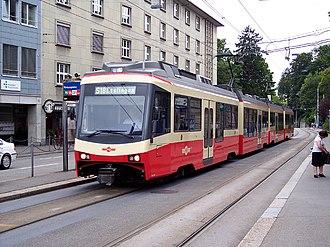 Trams in Zürich - A Forchbahn train on Zürich tram tracks