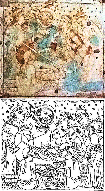Foreign dignitary drinking wine, on ceiling of Cave 1, at Ajanta Caves, possibly depicting the Sasanian embassy to Indian king Pulakesin II (610–642), photograph and drawing. Foreigner on ceiling of Cave 1at Ajanta Caves photograph and drawing.jpg
