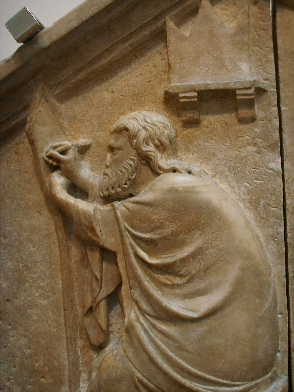 Formella 18, apelle o la pittura, nino pisano, 1334-1336 dettaglio 01