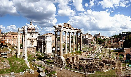 The Roman Forum are the remains of those buildings that during most of Ancient Rome's time represented the political, legal, religious and economic centre of the city and the neuralgic centre of all the Roman civilisation. Foro Romano Forum Romanum Roman Forum (8043630550).jpg