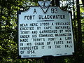 Fort Blackwater historic marker Franklin County Virginia.JPG