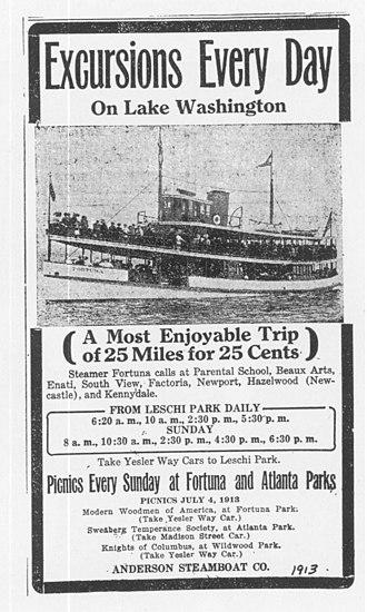 Fortuna (steamboat) - Advertisement for Fortuna, circa 1912.