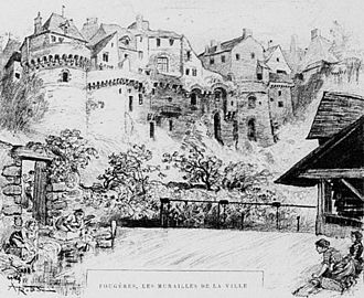 Fougères - Fougères: The walls of the city (lithography by Albert Robida, 1900)