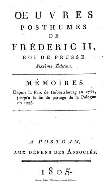 File:Frédéric II de Prusse - Mémoires de 1763 à 1775.djvu