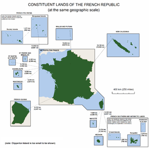 The lands making up the French Republic, shown at the same geographic scale.