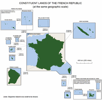 Geography of France - The lands making up the French Republic, shown at the same geographic scale.