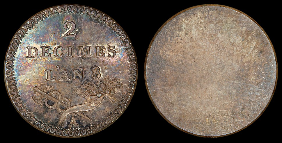 France 1799 2 Decimes (pattern, reverse)