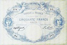 50 francs bleu 1884, Face recto