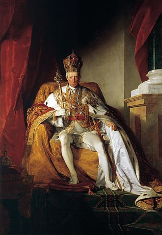 Imperial Crown of Austria - Portrait of Emperor Francis I of Austria by Friedrich von Amerling (1832), showing the Imperial Crown of Austria, Sceptre, and Regalia