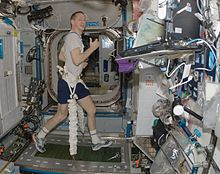 A man running on a treadmill, smiling at the camera, with bungee cords stretching down from his waistband to the sides of the treadmill