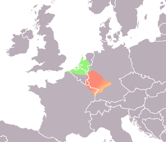 Map showing roughly the distribution of Salian Franks (in green) and Ripuarian Franks (in red) at the end of the Roman period. Frankischetalen.png