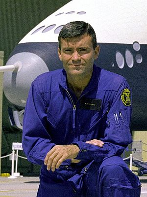 Fred Haise - Haise in front of the Space Shuttle Enterprise in 1976