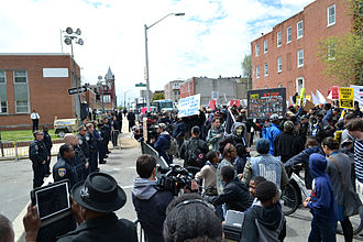 Death of Freddie Gray - Protesters at a police station near the site of Gray's arrest on April 25