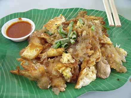 Fried oyster with egg and flour is a common dish in Malaysia and Singapore. FriedOyster.JPG