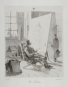 Wilhelm von Schadow in seinem Atelier, Zeichnung von Henry Ritter, 1845 (Quelle: Wikimedia)