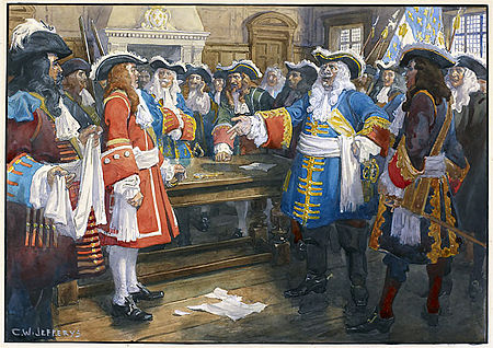 """I have no reply to make to your general other than from the mouth of my cannons and muskets."" Frontenac famously rebuffs the English envoys at the Battle of Quebec (1690) Frontenac receiving the envoy of Sir William Phipps demanding the surrender of Quebec, 1690.jpg"