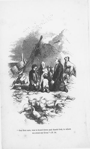 The Swiss Family Robinson - frontispiece from the 1851 American edition by John Gilbert
