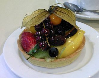 Custard tart - A fruit-topped tart with custard filling.