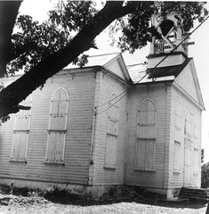 GENERAL VIEW FROM THE NORTHWEST OF WEST (FRONT) FACADE AND PART OF NORTH (LEFT) FACADE - Moravian Church, Friedensfeld, St. Croix, VI HABS VI,1-FRIE,1-1.tif