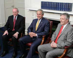 Peter Robinson (Northern Ireland politician) - Robinson with George W. Bush (centre) and Martin McGuinness (left)