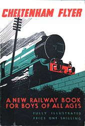 A stylised image of the front of a steam locomotive, seen from low down and created witha subduded pallette which is mainly green and black but with red title and subtitle
