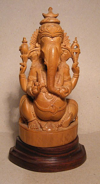 Sandalwood - Sandalwood carved statue of lord Ganesha