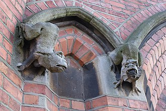 Chatham House Grammar School - A pair of Grotesques; characteristic of the school's Gothic Revival style architecture.