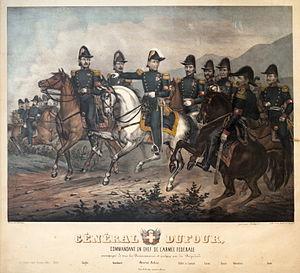 Sonderbund War - The general staff of the federal army: Kurz, Minscher, Enloff, Bontemps, Gerwer, Müller, Ziegler, Bourkhardt, Dufour, Rilliet de Constant, Luvini, Donats, Ochsenbein and Gmür