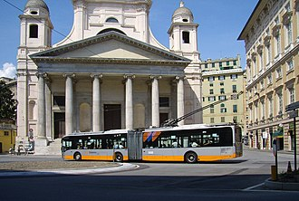 Trolleybuses in Genoa - No. 2112 at Piazza della Nunziata.