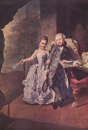 Duchess Sophia Frederica of Mecklenburg-Schwerin - Duchess Sophia Frederica and her brother Duke Frederick, by Georg David Matthieu, 1764.