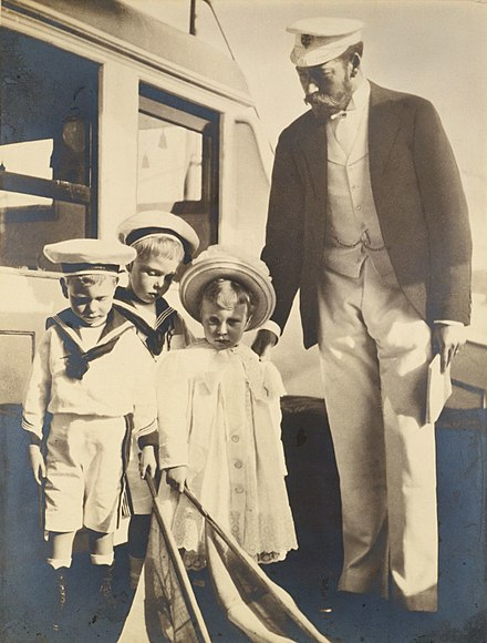 George with his children, Edward, Albert, and Mary, photographed by Alexandra in 1899 George, Duke of York, and his children.jpg