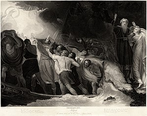 At right, a man stands in a long robe with his arms upraised. A woman clings to him. At left, a crew of men attempt to save a ship from a storm.