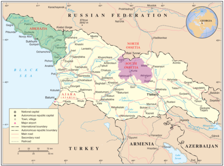 Map of Georgia highlighting Abkhazia (green) and South Ossetia (purple). Georgia high detail map.png