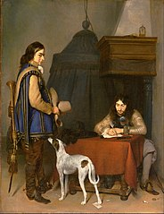 Officer Writing a Letter, with a Trumpeter and a Dog