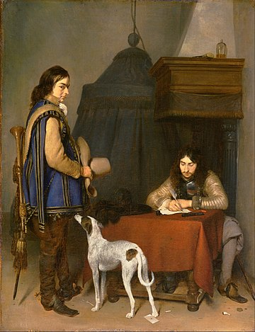 Gerard ter Borch, Dutch (active Deventer after 1654) - Officer Writing a Letter, with a Trumpeter - Google Art Project