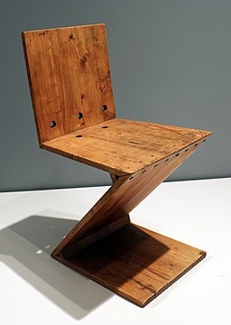 Gerrit rietveld, sedia zig-zag, 1938 ca