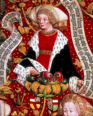 Gertrude of Austria - Duchess Gertrud, Markgravine of Moravia and Baden (from the Babenberger Stammbaum kept in Klosterneuburg Abbey)