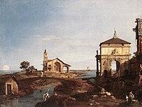 Giovanni Antonio Canal, il Canaletto - Capriccio with Venetian Motifs - WGA03930.jpg