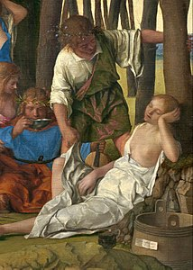 Giovanni Bellini and Titian - The Feast of the Gods - Detail- figures right & tub with script.jpg