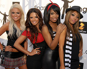 Girlicious - Girlicious attending Super Bowl XLIII at the Playboy Mansion in Los Angeles, California on 1 February 2009. Left to right: Nichole Cordova, Natalie Mejia, Tiffanie Anderson and Chrystina Sayers