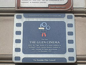 Glen Cinema disaster - The plaque added by the Film Council