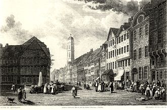 Robert Batty (artist) - Market Place and Weender Strasse at Göttingen. Drawing by Batty, engraved in 1828 by W. R. Smith.