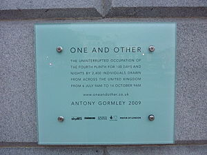 One & Other - The temporary plaque attached to the plinth.