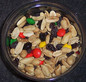 Snack - Trail mix is a classic snack food; here it is made with peanuts, raisins, and M&M's