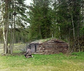 Лесная избушка дровосеков. Подобные постройки сохранили в себе многие черты архаичных жилищ
