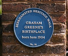 Graham Greene's Birthplace blue plaque crop.jpg