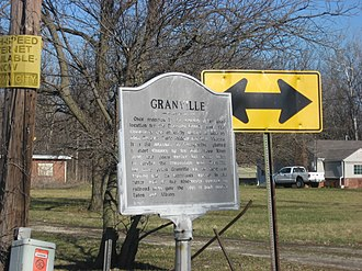 Granville, Delaware County, Indiana - A historical marker in the center of the community