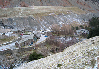 Glenridding - Greenside in 2009. The buildings seen here are the lower part of the mine complex which spreads up the hillside.