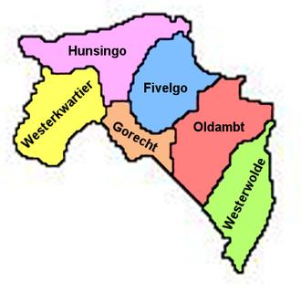 Hunsingo - Location of the regions of rural Groningen